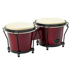 "More details for world rhythm 6"" & 7"" beginners oak bongo drums - wine red bongos"