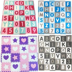 ABC 123 & Shapes Kids Play Mat Baby Bedroom Nursery Jigsaw Puzzle Soft Foam Rug