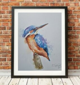 Large new Elle Smith original signed watercolour art painting Kingfisher bird