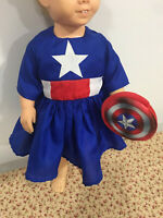 """Captain American Inspired Dress Only Fits 19"""" 20"""" Chatty Cathy Doll Clothes"""
