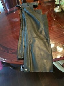 vintage USA mens harley davidson leather chaps xl  black