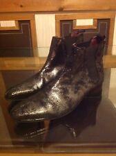 London Cuero Calado Plata Tono Craquelado Cuero Chelsea Botas Zapatos para hombre pullup 8/43