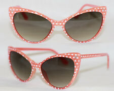 Cat Eye Sonnenbrille Pinup 50er Jahre z. Petticoat Kleid Polka Dots rot weiß 570