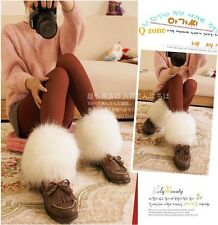 15cm white Wolf  faux fur funky leg warmers boots cover club dance shoes