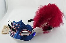Mask Masquerade Bowl Mask Mardigras Eye Mask Theatre Blue Red Hand Painted Italy