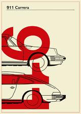 PORSCHE 911 ART PRINT A3 rouge