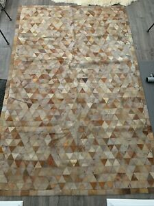 LEATHER RUG Handmade Triangular-Patchwork Hand Stitched 5'x8' BEAUTIFUL