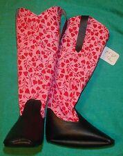 "Black Vinyl & Pink Hearts Valentine Cowboy Boots 36"" My Size Barbie Doll MYBT72"