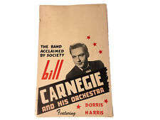 1950's Bill Carnegie and His Orchestra Featuring Dorris Harris Poster/Ad (RARE)