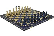 "CONSUL WOODEN CHESS SET - BLUE - 19"" FOLDING BOARD - 3 1/2"" KING"