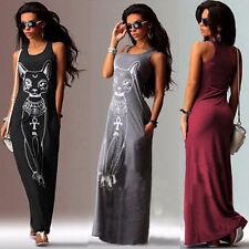Women's Casual Long Maxi Dress Cat Printed Summer Tank Tops Shirt Dress Beach