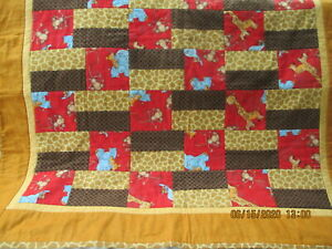 """Handmade FLANNEL BABY QUILT 36"""" x 42""""  Patchwork Jungle Animals Brown Backing"""