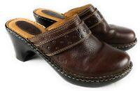 Born Concept Brown Leather Plain Toe Stitched Studded Mules Slip On Women's 9