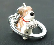 NEW RARE COACH Saint Bernard Dog Porcelain Key Chain Ring Fob Crystal Charm Pave