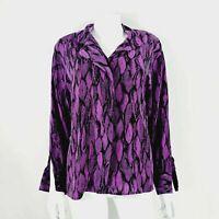 Vtg Jacques Vert Purple & Black Blouse / Shirt UK 8