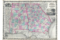 Georgia and Alabama; 1862 Johnson Map; Lovely Antique Cartography