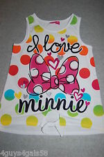 Girls Oversize Tank Top WHITE Polka Dot I LOVE MINNIE Mouse TIE WAIST Bow S 6-6X