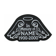 IN MEMORY ANGEL WINGS CUSTOM NAME TAG BLACK (A) EMBROIDERED SEW-ON PATCH