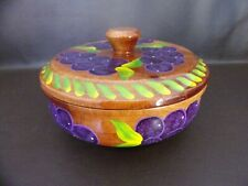 Mexicraft Hand Painted Wooden Bowl With Cover Guadalajara
