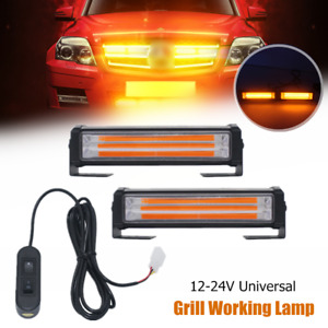 12-24V Universal Car Grill Light Working Lamp Daylight Truck Amber Bumper Mount