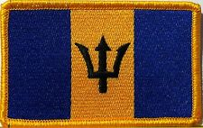 BARBADOS Flag Patch With VELCRO® Brand Fastener  Military Gold Emblem #7
