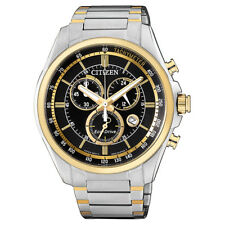 Citizen Eco-Drive Two-Tone Steel Chronograph Mens Watch. 100m WR. AT2134-82E