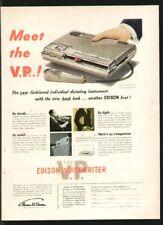 EDISON VOICEWRITER Dictating Machine 1952 Original Print Ad Q01