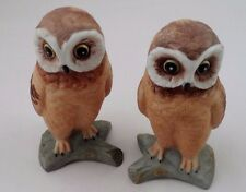 2 Mint 1960s Flambro Porcelain Bisque Big Eyed Hoot Brown Owls Owl Figurines