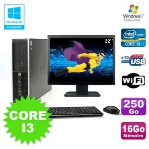 "Lot PC HP Elite 8200 SFF Core I3 3.1GHz 16Go 250Go DVD WIFI W7 + Ecran 22"""