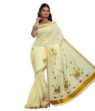 Kerala kasavu cotton saree with Gold jari border Peacock design 6.20 meters