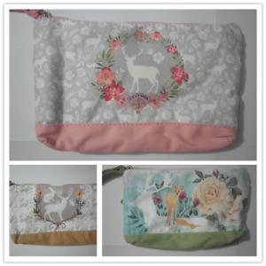 Cute Cotton Canvas Small Zipper Wallet Bag Purse Coin Key Phone Holder-Deer