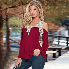 Fashion Woman Lace Off Shoulder V Neck Long Sleeve Casual T-Shirt Top Blouse M
