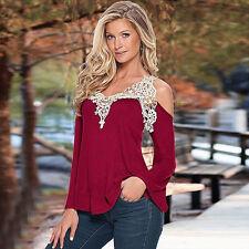 Fashion Woman Lace Off Shoulder V Neck Long Sleeve Casual T-Shirt Top Blouse L