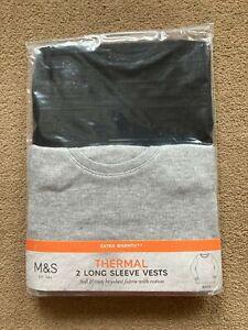 BNIP M&S Boys 2 Pack Black Grey Long Sleeved Thermal Vests 18-24 Months