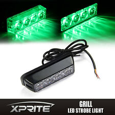 Green 4 LED Emergency Warning Vehicle Strobe Light Side Marker Deck Dash Grill