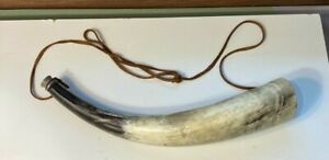 Large Bull or Ram Powder Horn ? with Leather Strap
