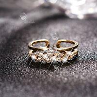 14K Yellow Gold band Simulated Diamond Ring open free size fashion