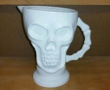 """Human Skull White Ceramic Halloween Pirate Holiday Party Drink Pitcher 8"""" Tall"""