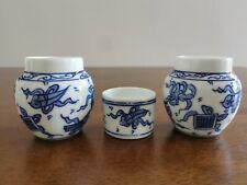 1set 3pcs Asian Bamboo Bird Cage Blue white porcelain cups �花鸟食�