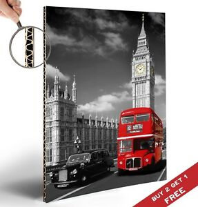 LONDON CITY RED BUS A4 POSTER Big Ben Landmarks Photograph Black & White Picture