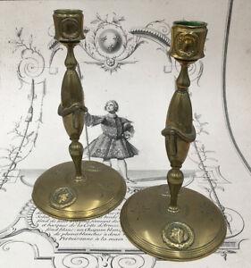 Paire de Flambeaux Bougeoirs Bronze Doré Empire XIXème Candlesticks 19thC