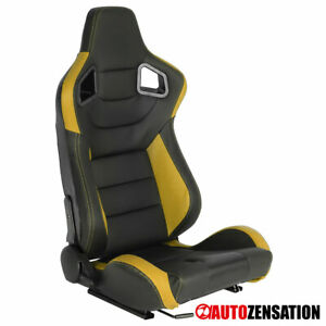 Right Side Black Yellow PVC Leather Carbon Fiber Look Sporty Racing Seat