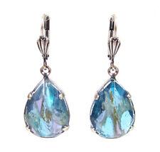 SoHo® Ohrhänger Ohrringe vintage Glas tropfen aquamarine silber transparent