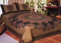 King Quilt Bedspread Vintage Dahlia Floral Design Set Coverlet Matching Shams