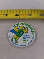 Vintage I'm Nurtrific Ad Campaign American Diabetic Assoc pin button pinback *A