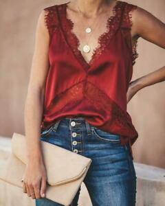 new solid color satin stitching lace V-neck casual vest