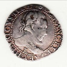 FRANC HENRI III 1584 B = ROUEN RARE 21631 exempl beau patine poids 12gr 95