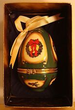Beautiful Vintage Mr. Christmas Porcelain Musical Ornament Trinket Box-