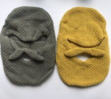 Lot of 2 - Funny Knit Beard with Removeable Mustache Hat Cap - Gray & Yellow