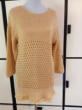Gianfranco Ferre Italy Long Sweater Top Dress Tunic Crochet Gold Yellow Fringe